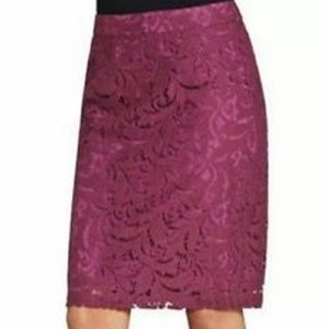 NEW CAbi Frolic Lace Pencil Lined Skirt 6  #922